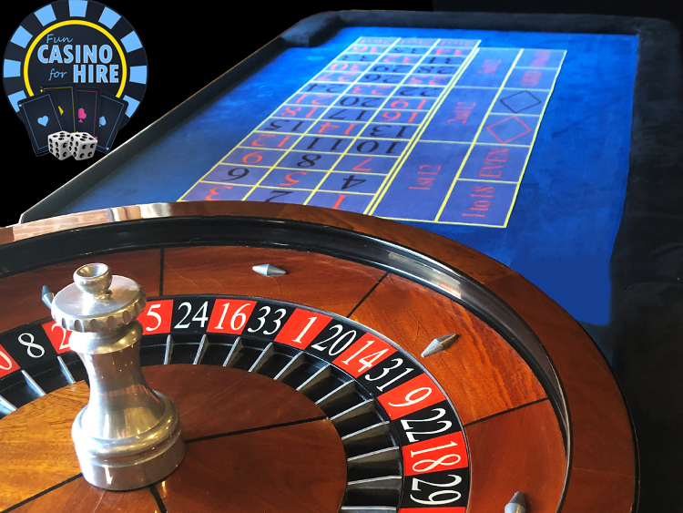 Roulette table in blue