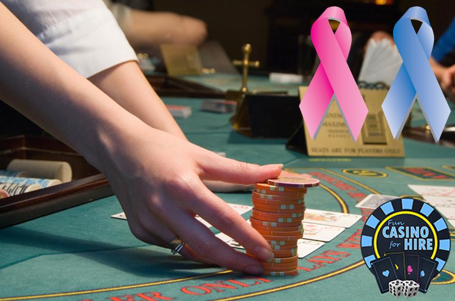 Fun Casino charity hire, croupier pushing chips