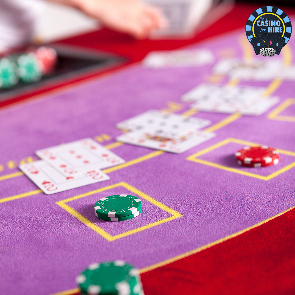 Fun casino blackjack table in red