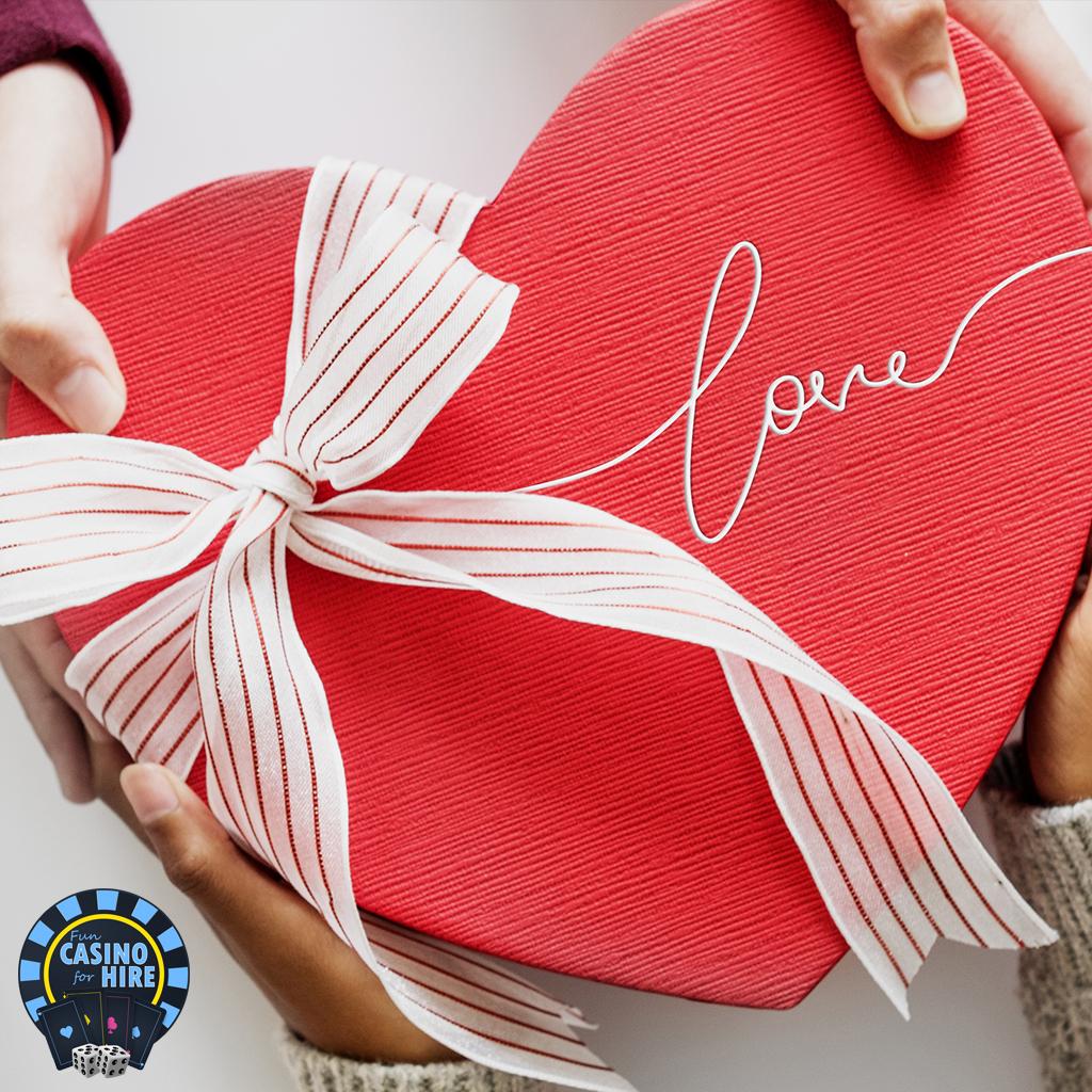 Fun casino hire for an anniversary love heart