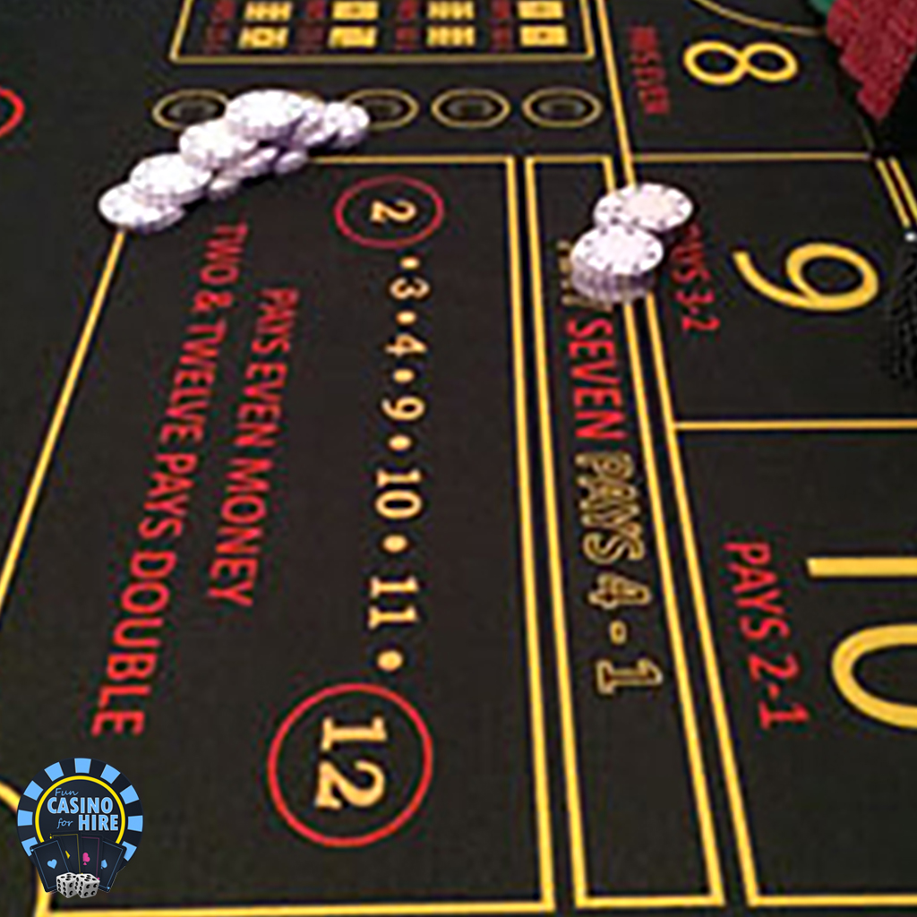 Chips and dice layout fun casino hire